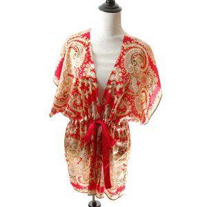 Silk Paisley Kimono Cardigan Blouse Top Shirt